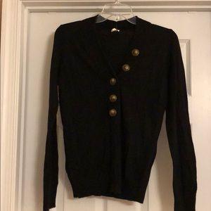 Lightweight black J. Crew sweater w/ cute buttons
